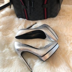 YSL Silver Closed Toe Heel